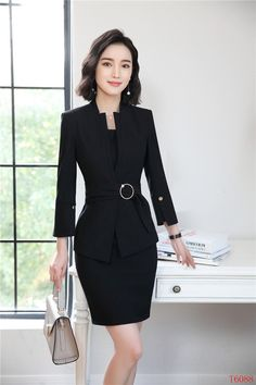New Styles 2018 Spring Summer Formal Professional Blazers Suits With  Jackets And Dress For Ladies Office Work Sets Plus Size 2ea6cf9c5ff8