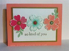 Pam's lovely card features Flower Shop & its matching Pansy Punch and Sweet Essentials done with the In Colors.