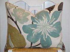 Decorative Pillow Cover - 16 x 20 - Throw Pillow - Accent Pillow - Teal - Aqua Green - Brown - Tan - Lumbar Pillow via Etsy