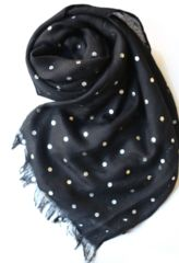 The Small Dot Metallic Scarf is a classic addition to the most sophisticated closet. This trendy accessory can turn a blue jean / t-shirt look into an extremely cool ensemble. Or use it to top off your slickest evening attire to create a high fashion look. Simple yet classy, this oversized scarf will keep you warm on cold days and bring out your chicness always. Metallic Scarves, High Fashion Looks, Evening Attire, Oversized Scarf, Trendy Accessories, All That Glitters, Cold Day, Blue Jeans, Polka Dots