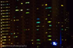 """night shot with 'our home"""" sign"""
