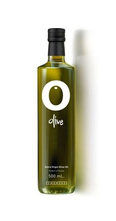love the simplicity of this logo utilizing the negative shape of the O center to create an olive. The deep green color created by the bottle and oil emphasizes the olive and makes it stand out from the letter O. A unique typeface adds to the modern logo. Olive Oil Packaging, Bottle Packaging, Bottle Labels, Olive Oil Brands, Olives, Olive Oil Bottles, Liquor Bottles, Olive Tree, Bottle Design