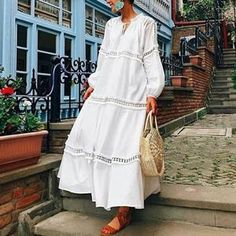 V Neck Lantern Sleeve Hollow Out Maxi Casual Dress – jollyluva summer dresses maxi cute maxi dress style maxi dress long maxi Plus Size Maxi Dresses, White Maxi Dresses, Spring Dresses, Casual Summer Maxi Dresses, Flower Dresses, Long Maxi Dresses, Maxi Dress Outfits, Boho Dress, Modest Maxi Dress