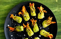 Zucchini blossoms with burrata and tapenade. Photo: Andrew Scrivani for The New York Times