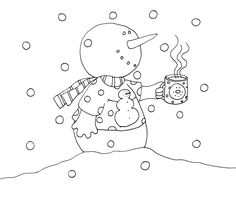 Free Dearie Dolls Digi Stamps: Little Snowman with Hot Chocolate (an oldie but a goodie)