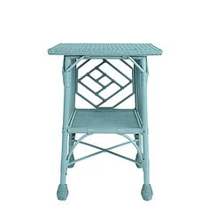 Maine Cottage, aqua wicker table