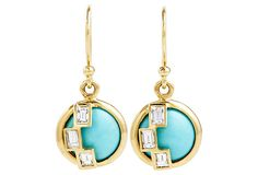 18K Deco Earrings, Turquoise/Diamonds on OneKingsLane.com