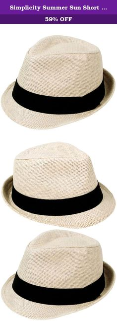 Simplicity Summer Sun Short Brim Straw Fedora Hat, 756_Natural SM. Recreate or just tip a hat to the past with our classic, timeless fedora. This breathable, light weight classic Cuban style fedora hat is the perfect hat to make your own fashion statement. Complements your vintage wardrobe style. Perfect for plays, musicals and theatre performances. Add that extra special touch for special occasions and formal affairs like derbies, weddings, and proms! Material: Straw Size SM…