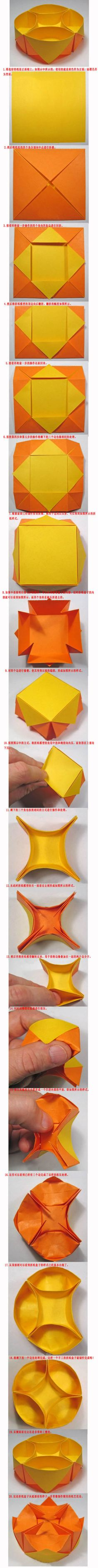 """written directions for this origami """"snack"""" bowl, but it's pretty easy to figure out. Use at least a sheet of 8 X 11 inch paper Diy Origami, Origami And Kirigami, Paper Crafts Origami, Origami Tutorial, Diy Paper, Oragami, Basic Origami, Origami Frog, Modular Origami"""