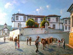 """""""Escola de Minas"""" (Ouro Preto) de Wilson Vicente Johann Moritz Rugendas, Brazil, Gothic, 1, Landscapes, Painting, School, Landscape Paintings, Art"""