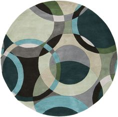 Surya FM7157 Forum Gray, Green Round Area Rug