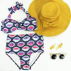 Vintage Women's Halter High-Waisted Print Bikini Set #jewelry, #women, #men, #hats, #watches, #belts