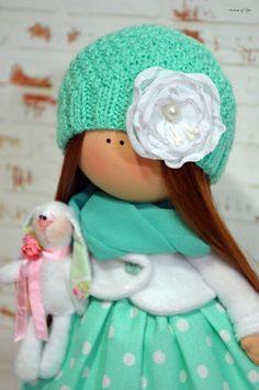 Nursery doll Interior doll Rag doll Art doll Handmade doll Green doll Tilda doll Soft doll Fabric doll Cloth doll Collectable doll by Olga S Rag Doll Tutorial, Doll Home, Soft Dolls, Fabric Dolls, Handmade Toys, Doll Clothes, Crochet Hats, Nursery, Interior