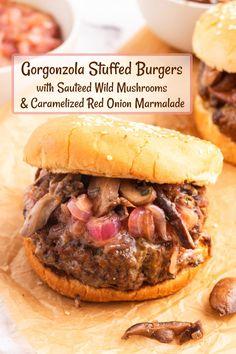 Fish Burger, Burger And Fries, Good Burger, Sauteed Mushrooms, Creamed Mushrooms, Burger Recipes, Grilling Recipes, Meat Recipes