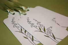 Lily of the Valley gift tags.  Stationery, wrapping, stationary