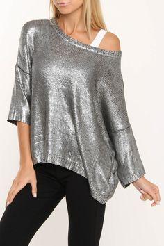 ac9db20ab Costa Blanca Metallic Crew Neck Boxy Sweater In Silver