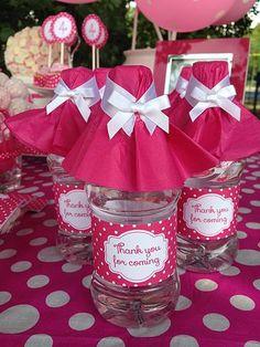Pink polka dot personalized mini bottle of water
