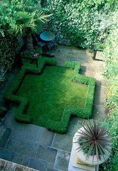 Urban garden with formal layout,