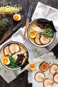 Tonkotsu Ramen recipe by Curious Nut | Rich pork and chicken broth with fresh noodles, soft yolk eggs, and pork belly. This is definitely comfort food!
