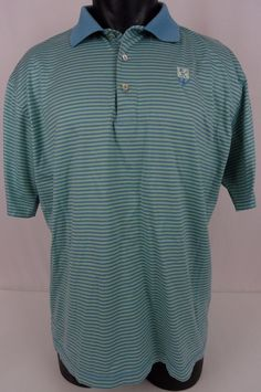 "Peter Millar Mens L Polo Shirt Blue Green Striped SS 100% Cotton ""KCC"" Logo EUC #PeterMillar #PoloRugby"