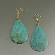 Designer Apple Green Copper Tear Drop Earrings Listed by https://www.ilovecopperjewelry.com/apple-green-patinated-copper-tear-drop-earrings.html #7thAnniversary #MadeInSF