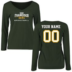 San Francisco Dons Women's Personalized Basketball Slim Fit Long Sleeve T-Shirt - Green