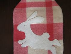 "Hot Water Bottle Cover "" Cream Rabbit"""