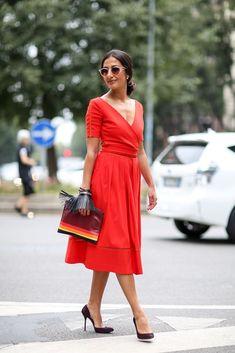 orange wrap dress with pumps