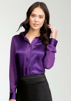 cute ladies with even more cute purple satin button up blouse | Ladies in Satin Blouses | Whatyoulikewere.com