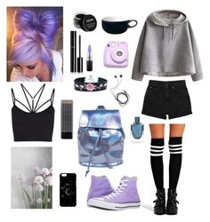 """Pastel Goth #7"" by godfidence ❤ liked on Polyvore featuring Boohoo, WithChic, Sweaty Betty, Monki, NYX, Chanel, Diane Von Furstenberg, MAC Cosmetics, Converse and Polaroid"