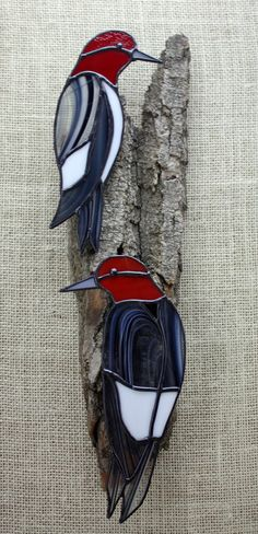 Stained Glass Red Headed Woodpecker Birds Pair Wall Hanging Life size pair of Stained Glass Red Headed Woodpeckers on real weathered Cottonwood Bark.