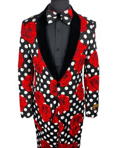 This black and white polka dot tuxedo with red roses is the perfect tux for prom, or any event where you want to make a statement. It features a luxurious fabric, with a satin shawl lapel. Comes with matching slim flat front pants, and a matching oversized bowtie. #PromTuxedo #Tuxedo #BlackTuxedo #RedTuxedo #WeddingTuxedo #PromTux #WeddingTux #Tux #Wedding #Prom