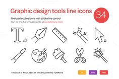 Graphic Design Tools Line Icons Set by roundicons.com on @creativemarket