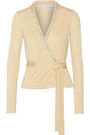 Diane von FurstenbergBallerina metallic bead-embellished stretch-knit wrap sweater