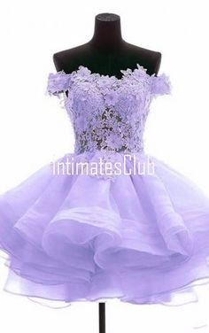Purple A Line Sweetheart Off The Shoulder Appliques Lace Short Mini Homecoming Dress