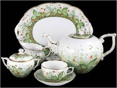 HEREND PORCELAIN Tea Set, Hungary, White w Gold Trim & Green Leaf Design, Tray, Teapot w Lid, Sugar Bowl w Lid, One Cup, One Saucer.