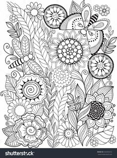 Coloring Book For Adult. Summer Flowers. Vector Elements - 344494472…