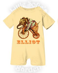 Baby, Toddler Boy, Girl PERSONALIZED Romper -Circus' Curiosities, Vintage Circus, Elephant, Birthday Outfit