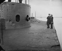 The keel was laid for the USS Monitor. Built in Greenpoint, Long Island, the Monitor engaged in a famous naval battle with the CSS Merrimack on March 1862 image: .photograph of USS Monitor's crew on deck. Naval History, Us History, Military History, Military Photos, History Channel, American Civil War, American History, Uss Monitor, Us Navy Ships