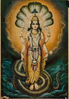 Caturbhuja Śriman Nārāyaṇa Śri Mahā Viṣṇu bearing the śaṅkha (conch), cakra (discus), gadā (mace) and padma (lotus). Calendar are by Raghuvir Mulgaonkar Lord Krishna Images, Krishna Pictures, Indian Gods, Indian Art, Shree Krishna Wallpapers, Durga Goddess, Durga Maa, Lord Vishnu, Lord Shiva
