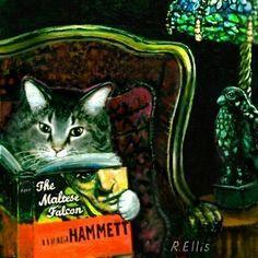 """cat reading """"the maltese falcon"""""""