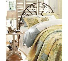 I really like this headboard. I might try to make one on my own.  Iron Gate Headboard #potterybarn