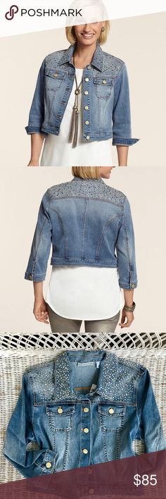 NWT • CHICO'S • Dazzle Denim Jacket BRAND NEW WITH TAGS! Fun, flirty & chic cropped denim jacket with lots of flair!  ⬆️See last slides for sizing chart & product description from Chico's website⬆️ Chico's Jackets & Coats Jean Jackets