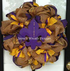 "LSU Burlap wreaths with fleur de lis ""Go Tigers""  Jayne's Wreath Designs on fb"