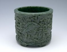 From the Harvard Art Museums' collections Jade Cylindrical Brush Holder with Five Small Feet and with Decoration of Figures in a Mountainous Landscape