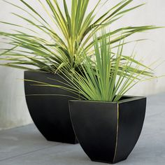 Bronze Tapered Planters In Garden, Patio | Crate And Barrel