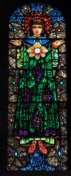 Window by Harry Clarke Studio, found in the Church of St. Oswald & St. Edmund in Ashton-in Makerfield, Wigan, UK. Photographed by Lightworks Stained Glass, Lancashire, UK