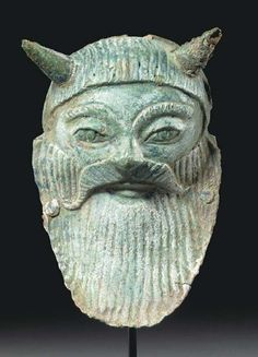 """archaicwonder: """" Etruscan Bronze Mask of Achelous, c. 520 BC In Greek mythology, Achelous was the patron deity of the """"silver-swirling"""" Achelous River, which is the largest river of Greece, and thus..."""