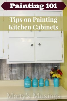 Painting Tips on Painting Kitchen Cabinets. love the pallet backsplash! love the pallet backsplash Painting Kitchen Cabinets, Kitchen Paint, Kitchen Redo, Kitchen Remodel, Kitchen Ideas, Bedroom Cabinets, Kitchen Updates, Oak Cabinets, Kitchen Cabinetry