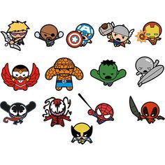 Fill your room with this cute Kawaii Marvel Superheroes Fathead Collection… Marvel Dc Comics, Chibi Marvel, Marvel Avengers, Spiderman, Batman, Doodles, Marvel Movies, Comic Art, Anime
